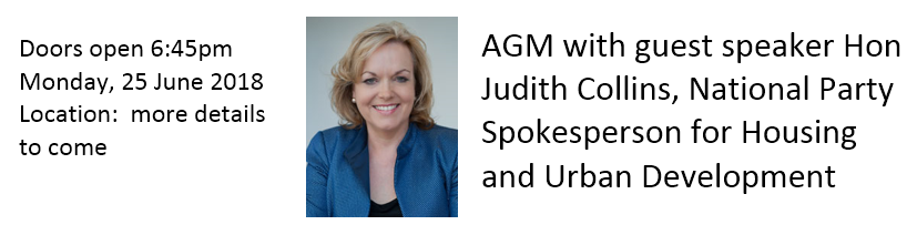 2018 June Member Meeting - AGM with guest speaker Hon Judith Collins.